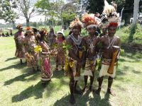 Divine Word Northern Province Student ready to dance to the beat of their Kundu drums